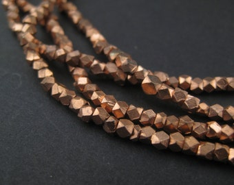 2mm Faceted Copper Beads - Full Strand - Copper Cornerless Cubes - Metal Spacers - Small Metal Beads - Jewelry Supplies (FCT-USU-CPR-139L)