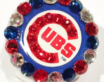 World Series!  Go Cubs Go!  Chicago Cubs Swarovski Crystal Embellished Chrome Retractable name Tag ID Badge Reel