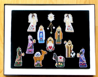 Beadwork Nativity Creche Holy Family Christmas tree Ornaments Advent Holiday Decoration Heirloom Quality