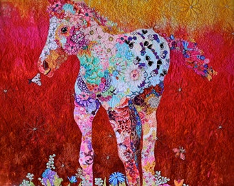 MarveLes COLLAGE Pattern SUN BLOSSOM A Painted Pony Art Quilt Pattern Horse Foal Colt Pinto Sunrise Sunset Wall Hanging