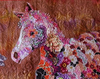 MarveLes COLLAGE Paper Pattern TONI'S PONY Painted Horse Colt Foal Art Quilt Pattern Pinto Purple Peach Pink Black White Wall Hanging