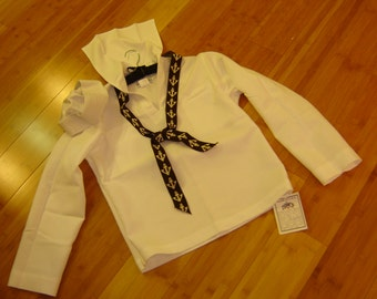 Military sailor navy white jumper blouse top hat  womens M/L mens 40 R Halloween Costume