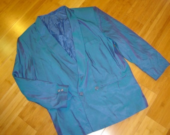 50's Prom blue sharkskin tuxedo dinner jacket men's sz 44 C  35 slv sport Halloween costume M