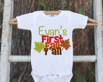 First Fall Y'all - Autumn Leaves Onepiece - Baby's First Fall Outfit for New Baby Boy or Baby Girl - Infant Newborn Keepsake - Southern