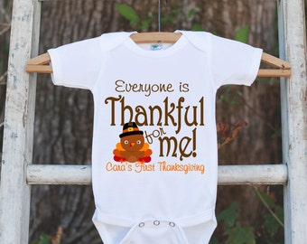 Thankful For Me Thanksgiving Shirt - Thanksgiving Onepiece - Thanksgiving Outfit for Baby Boy or Baby Girl - First Thanksgiving Turkey Shirt