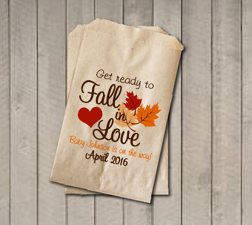 fall baby shower favor bags fall in love bags fall candy