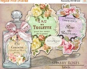 SALE 30% OFF - LABELS Shabby Roses Parfume  - Apothecary Labels - Vintage Tag Parfume - Collage Digital Labels - Collage french Labels - Pri