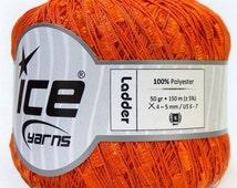 ice yarns ladder ribbon trellis yarn orange bulky 1 skein ribbon bulky chunky novelty knitting crochet supply usa multicolor 29860