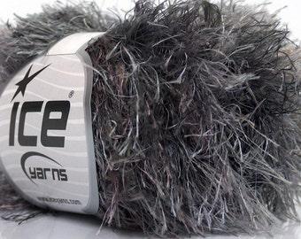 ice yarns FUN FUR MAGIC  grey shades gray 1 skein 50gr medium worsted polyester craft rug yarn  fun fur 43650