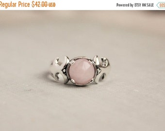 SALE Rose Quartz Sterling Silver Ring