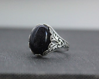 Blue Goldstone Ring. Antique Silver or Antique Brass