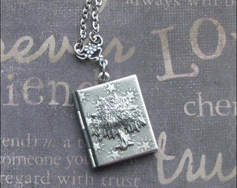 Book Locket, Tree Of Life, Silver Locket, Locket Necklace, Woodland Jewelry, Picture Locket, Gift For Her, Tree Necklace, Enchanted Forest