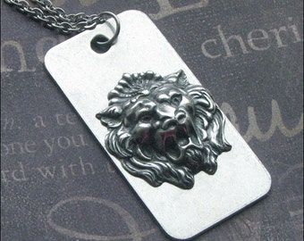 Lion Dog Tag Necklace - Enchanted Beast - Handmade Jewelry By TheEnchantedLocket - Military Jewelry - Gift For Him - Lion Roar - Steampunk