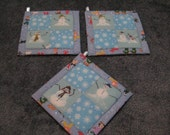 Goofy Snowmen and Snowflakes  Kitchen Potholder Set