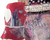 Art vest women XS,reversible nuno felt Vest, Embroidery women garment, skyline, abstract flower filed Wearable Art Garments, Paris Design