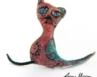 Textile Cat Art Sculpture - Fantasie Felt Animal Arty Home Decor - Happy Critter - Original Art - Felt Car- Handmade In France, Paris