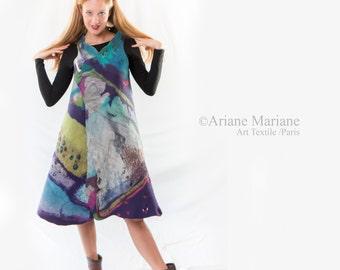Outstanding Nuno Felt Dress, longue Merino Wool Vest, Wearable Art Garement Paris Design, Reversible Convertible Bolero, OriginalFiber Art