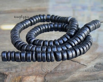 Black Coconut Rondelle 8mm Spacer Disc Full 16 Inch Long Strand