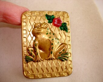 Frog Brooch Gold Tone