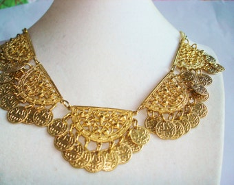 Egyptian Revival  Gold Tone  Vintage Jewelry  Necklace