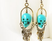 Boho Voodoo Priestess Brass and Turquoise Magnasite Dangle Earrings