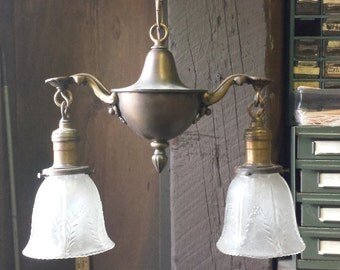 Antique Hanging Light, 2 arm Pan Light, Vintage Brass Pendant Light