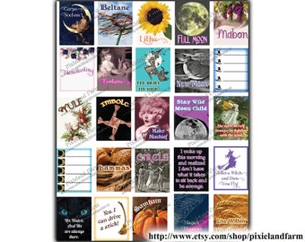 Pagan Witch Printable Planner Stickers Digital Download #2- Fits Erin Condren Life Planner