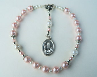Pink Pearl Car Chaplet Rosary of St. Anne/Anna: Mother of Mary, Grandmother of Jesus