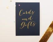 Navy Gold Wedding Cards and Gifts Sign Gold Decoration 5x7