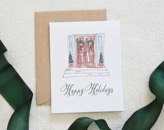 Value Pack Watercolor Holiday Card, Christmas Card Set, Holiday Cards, Modern Calligraphy, Scenery, Wreath, Holiday Home, Home for Holidays