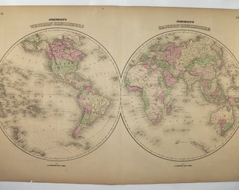 Antique World Map, Western Hemisphere Eastern Hemisphere Map 1867 Johnson Map, 1st Anniversary Gift for Couple, Man Cave Decor Gift for Him