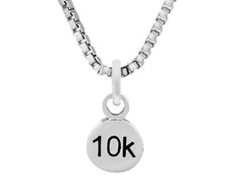 10K Mini Charm or Necklace- Sterling Silver- Running Jewelry -6.2 Miles
