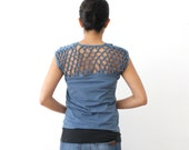 CLEARANCE - Openback Tshirt, Knotted Top, Organic Cotton Top, Blue Yoga Tshirt, Modal Solid Top, Womens Braided Tshirt, Woven Top  - COCO