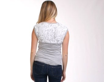 MOVING SALE - Simple Lace Tshirt, Gray Lace Top, Floral Tshirt, White Floral Lace Blouse, Lace Jersey, Lace Applique, Womens Tee - BROOKE