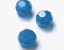 Clearance Sale - 6mm Swarovski  ROUND style 5000 Crystal Beads Caribbean blue opal - 12 beads