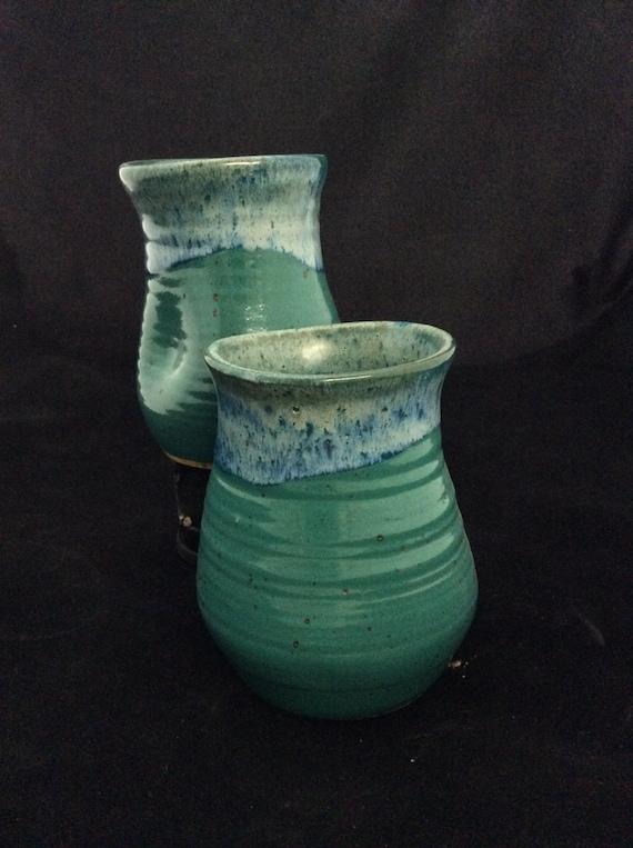 Large Thumblers/ handmade/ Teal Glaze