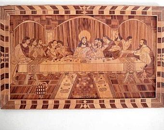 The Last Supper, Leonardo da Vinci, Inlaid Wood, Last Super Inlaid wood, Da Vinci Last Supper,Easter, Framed Last Supper, Last Supper Bamboo