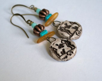 Primative Earrings, Caveman Earrings, Ceramic Earrings, Artisan Unique Earrings, Earthy Earrings, Neutral Earrings,
