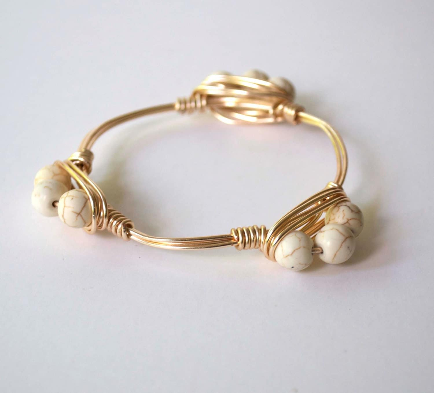 ivory bangle wire wrapped bracelet beaded bracelet