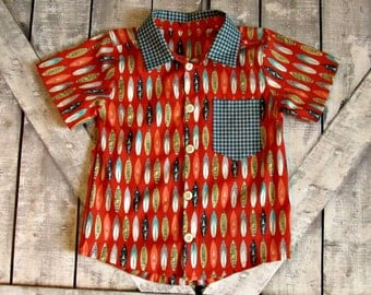 Boys Button Up Shirt- Oxford Button Up Shirt-Surfboards- Toddler Boys Shirt- 4T Ready To Ship