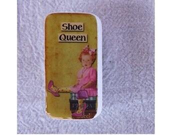 Domino Magnet Shoe Queen Little Girl Child Vintage