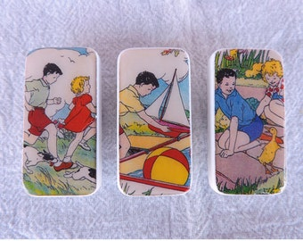 Domino Magnets Set of 3 Vintage Children Playing