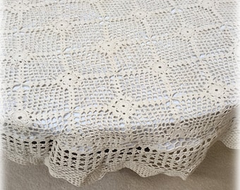 "Vintage Antique Ivory Lace Crochet 52"" Round Tablecloth Linen Lined with White Backing"