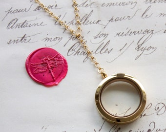 Large Keepsake Vintage Y Style Necklace Glass Floating Memory Shake Locket - Stainless Steel, Yellow Gold, or Rose Gold Plated - Nickel Free