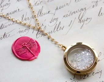 Large Floating Glass Keepsake Memory Shake Locket  w/Sparkling Diamond Cut CZs Y Necklace Stainless Steel, Yellow Gold, or Rose Gold Plated