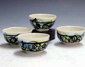 holiday presents  hand made gifts porcelain ceramic tea bowls  office party gifts tea bowls cider bowls  gifts party gifts wiskey shooters