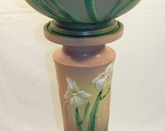 Roseville Pottery Iris Pink Jardiniere and Pedestal 647-10