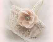 Flower Girl Basket, Ivory, Cream, Blush, Wedding, Bridal, Pearl Handle, Lace Basket, Elegant Wedding, Crystals, Vintage Style, Gatsby