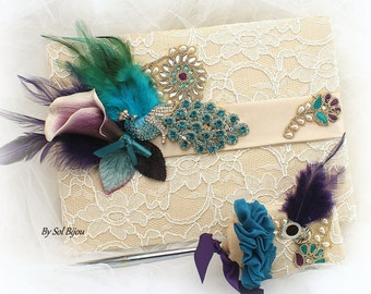 Peacock Guest Book, Purple, Teal, Turquoise, Champagne, Gold, Vintage Wedding, Signature Book, Signing Pen, Pearls, Crystals, Feathers, Lace