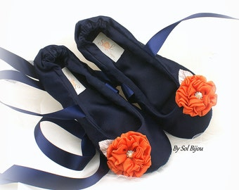 Ballet Flats,Navy Blue,Orange,Dark Blue,Vintage Style,Elegant Wedding,Prom,Mother of the Bride,Satin Flats,Shoes,Reception,Ballet Slippers